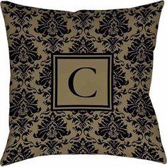 Thumbprintz Damask Monogram Decorative Pillow, Black and Gold