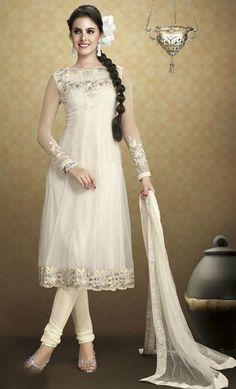 $89.13 White Net Embroidered Anarkali Salwar Kameez 24402