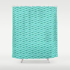 Teeny Turquoise Mermaid Scales Shower Curtain by Brianneburnell - $68.00