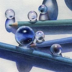 """A TOUCH OF BLUE watercolor still life painting"" - Original Fine Art for Sale - © Barbara Fox"