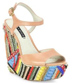 Alice and Olivia Laura Leather Beaded Wedge Sandals