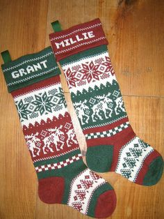Personalized Christmas Stockings moose with by TerrapinKnits