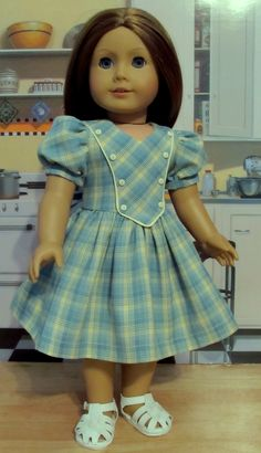 Forties Fashion Frock ( Pattern Proof Outfit)- Made to fit 18 American Girl Doll, By KeepersDollyDuds Ag Doll Clothes, Doll Clothes Patterns, Clothing Patterns, Frocks For Girls, Dresses Kids Girl, Kids Outfits, American Girl Outfits, Frock Design, Frock Patterns