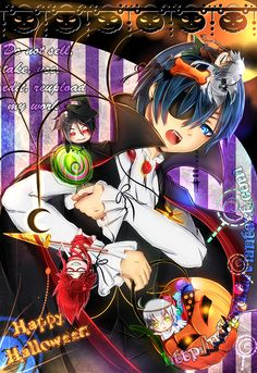 Black Butler Halloween Vampire Ciel Phantomhive with chibi versions of other Black Butler characters Black Butler Meme, Black Butler Ciel, Black Butler Kuroshitsuji, Anime Halloween, Halloween Vampire, Halloween Wallpaper, Holiday Wallpaper, Black Butler Characters, Butler Anime