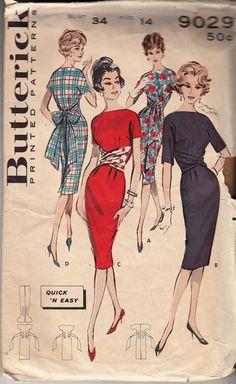Vintage Butterick 9029 Size 14 Bust 34 Sheath Sash Dress Pattern via Etsy.