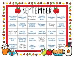 Free Printable September Activity Calendar - Perfect for September craft and activity ideas! #september #kidsactivities #freeprintable