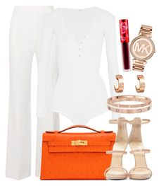 """""""MK, Hermès and Cartier"""" by camrzkn ❤ liked on Polyvore featuring Roland Mouret, Alix, Hermès, Cartier, Giuseppe Zanotti, Lime Crime and Michael Kors"""