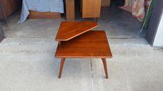 Vintage 1960's Heywood Wakefield Corner Table Mid Century Modern Saber Legs Solid Wood Original Cherry Finish MCM