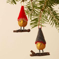 Almond Bird Christmas Ornaments - these are adorable. Love the felt hats! More DIY ornaments: http://www.bhg.com/christmas/ornaments/easy-christmas-ornaments/