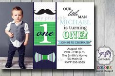 Little Man Bowtie & Mustache Invitation by simplyprintable on Etsy, $12.00