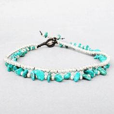 Casual Double Line Ankle Bracelet with Silver and Turquoise Stone A163