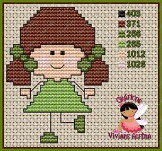 Viviane Alfêna - Gráficos e Bordados Cross Stitch Cards, Cross Stitch Baby, Cross Stitching, Cross Stitch Designs, Cross Stitch Patterns, Disney Princess Silhouette, Embroidery Patterns, Crochet Patterns, Stitch Doll