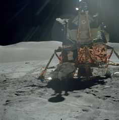 Looking east: Apollo 17 Lunar Module Challenger in the glare of the lunar late morning Sun. Image: NASA