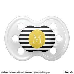 Modern Yellow and Black Stripes Custom Monogram BooginHead Pacifier