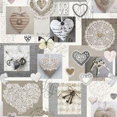 Bavlněná látka Srdce Love De luxe, digitální tisk Vintage World Maps, Decorative Boxes, Gallery Wall, Place Card Holders, Fabric, Prints, Cotton, Home Decor, Lace