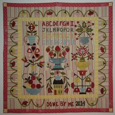 Wool applique with a touch of velvet makes this folk art style sampler a breeze to stitch. Each quirky block is reminiscent of motifs from antique. Wool Applique, Applique Patterns, Quilt Patterns, Punch Needle Patterns, Summer Quilts, Rug Hooking Patterns, Basket Quilt, Quilt Sizes, Cross Stitch Samplers