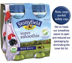 6oz 4pack Wild Berry Super Smoothie with Low Fat Organic Yogurt, Nutrition Facts - Stonyfield Farm #Stonyfield