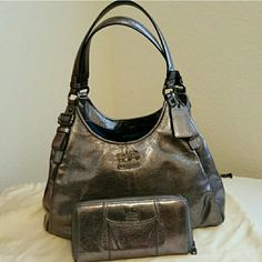 Coach Gunmetal Madison w/ wallet 18813 Coach Gunmetal Madison w/ wallet 18813, there are some worn spots on the shoulder straps and on the corners of both the wallet & purse. With the Gunmetal color it all blends in, makes it harder to notice when wearing it. Coach Bags Shoulder Bags