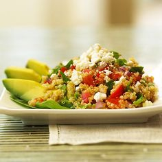 Nutty in flavor, quinoa is also high in protein, fiber, vitamins, minerals, and amino acids, making it a great choice to pair with beans and corn./