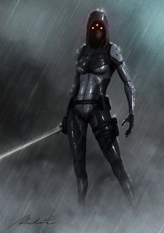 assassin by albert-radosevic female robot samurai armor rain sword | NOT OUR ART - Please click artwork for source | WRITING INSPIRATION for Dungeons and Dragons DND Pathfinder PFRPG Warhammer 40k Star Wars Shadowrun Call of Cthulhu and other d20 roleplaying fantasy science fiction scifi horror location equipment monster character game design | Create your own RPG Books w/ www.rpgbard.com
