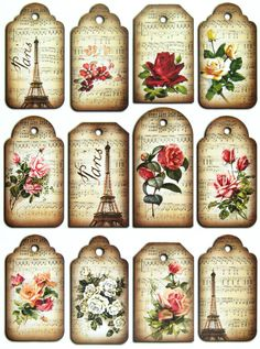 Scrapbook Paper Gift & Hang Single Sheet 12 Tags Eiffel Tower And Roses Vintage Tags, Vintage Labels, Decoupage Vintage, Vintage Paper, Paper Tags, Paper Gifts, Card Tags, Gift Tags, Cards