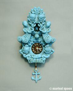 Kuckucksuhr Uhr Kunst Wandskulptur Türkis Robins von marisolspoon