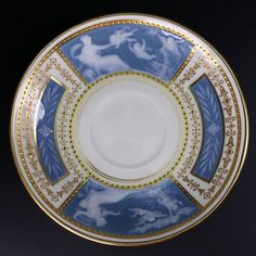Minton For Tiffany Pate-Sur-Pate Blue Gold Gilt Porcelain Demitasse Saucer  #MintonforTiffany