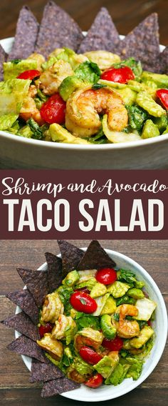 Shrimp And Avocado Taco Salad | This Shrimp And Avocado Salad Is Perfect For Your Cinco De Mayo Party Avocado Salad, Cobb Salad, Kung Pao Chicken, Salad Dressing, Potato Salad, Shrimp, Prawn Salad, Vinaigrette, Avocado Salads