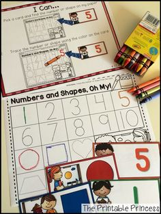 Easy centers to start the year in Kindergarten. Find the matching number/shape on the paper. Trace it using the same color as the card.