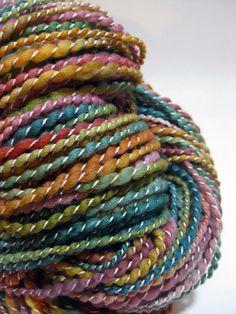 thread plied by craftypuppylover on ravelry Spinning Wool, Hand Spinning, Yarn Inspiration, Yarn Thread, Fabric Yarn, Textiles, Fibres, Hand Dyed Yarn, Yarn Colors