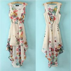 retro irregular Printed flower chiffon dress ($29.99)