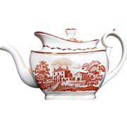 English Teapot, Orange Bat Print,  Antique Staffordshire c 1820