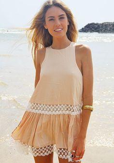 Apricot Plain Lace Pleated Round Neck Sleeveless Mini Dress - Mini Dresses - Dresses