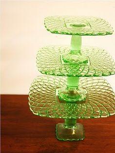 Depression Glass Cake Pedestals