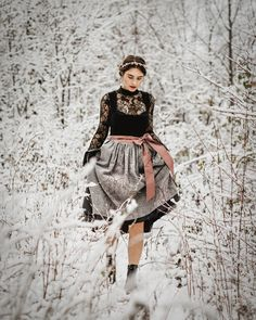 How To Style A Dirndl In Winter, Austrian styling Dirndl Dress, Ice Princess, Folk Fashion, You Rock, Prom Hair, Traditional Dresses, Headpiece, Lifestyle Blog, Sequin Skirt
