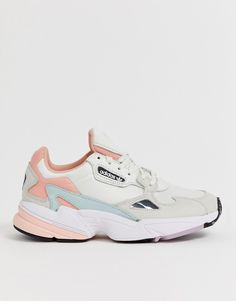 Adidas Shoes OFF!>> adidas Originals Falcon in white tint and trace pink Sneakers Fashion, Fashion Shoes, Shoes Sneakers, Fashion Outfits, Pink Adidas, Adidas Shoes, Adidas Originals, Nike Shoes Air Force, Adidas Sneakers