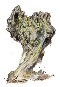 Chindi (Elemental/Undead/Spirit)(Huge) – Like the Umibozu, the Chindi is an undead elemental. After a battle has been fought, the battlefield often is crowded with corpses and souls, if a dust devil or whirlwind forms upon such battlefields they absorb the souls and spirits of the field and so a Chindi is born. These living whirlwind and dust devils bring destruction everywhere they go, as the mocking crowd inside them battle for dominance they will never achieve.