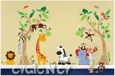 Jungle Safari Wall Decals Animals and Birds  Tropical by evgieNev