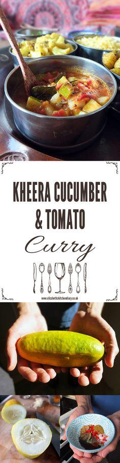 The Kheera cucumber is a heirloom cucumber variety originating in India. It's crisp and sweet and makes awesome curries. This quick and easy curry only takes minutes to make! Veggie Recipes Healthy, Indian Food Recipes, Ethnic Recipes, Vegetarian Meals, Curry Side Dishes, Paleo Curry, Tomato Curry, Food Journal, Vegan Dishes