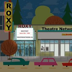 Roxy Theatre - Edmonton Landmark art print, home decor  Edmonton landmark art print with a unique Mid-Century / Folk Art take. A perfect Edmonton gift idea for any city lover or that poor soul that is leaving town. Purchase on www.snowalligator.com  Illustration by local artist Jason Blower  #yeg #yegart #yegwallart #wallart #EdmontonArt #edmontongift #yeggift #snow_aligator #charmingart #cuteart #midCentury #Folkart #cuteart #charmingart #edmontonartist
