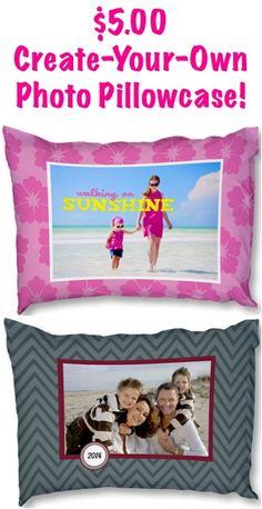 $5.00 Create-Your-Own Photo Pillowcases! {+ s/h} ~ these make such FUN gifts, too! #bedroom #pillows