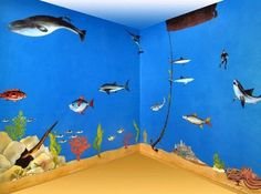 detail for under the sea ocean themed bedroom undersea wall decor