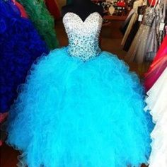 2015 new sexy quinceanera dress formal prom party ball gown with beaded blue evening dresses - Thumbnail 5