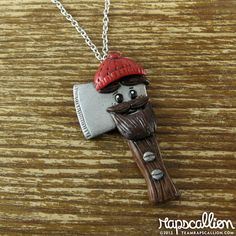 Lumberjack+Axe+Polymer+Clay+Necklace+by+rapscalliondesign+on+Etsy,+$18.48
