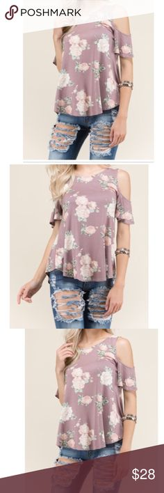 🆕 floral cold shoulder top Pretty floral cold shoulder top  measurements laying flat on one side S 18 M 19 L 20 length S  26 M 26 L 26 1/2 it's a rounded hem PLEASE Use the Poshmark new option you can purchase and it will give you the option to pick the size you want ( all sizes are available) BUNDLE and save 10% ( no trades price is firm unless bundled) Tops