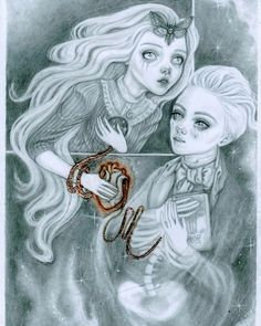 Golden Hair by Sam Crow Graphite Drawings, Pencil Drawings, Art Drawings, Creature 3d, Curious Creatures, Golden Hair, Creepy Cute, Pop Surrealism, Victorian Gothic