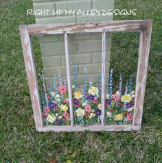 Old painted window,Window art,Custom order window,Wall Art