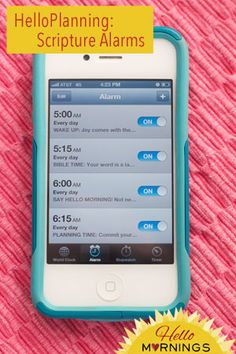 HelloPlanning: Scripture Alarms. I love the idea of being reminded of an encouraging verse at just the right time. Maybe I should memorize these ones too. Great ones!