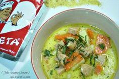 Supa de cartofi cu somon ( Juha s krumpira lososom ) din Carte de bucate, Supe si ciorbe. Specific Romania. Cum sa faci Supa de cartofi cu somon ( Juha s krumpira lososom ) Soups And Stews, Cheeseburger Chowder, Thai Red Curry, Carne, Supe, Ethnic Recipes