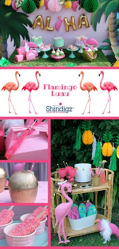 Celebrate your summer with party ideas from the Shindigz blog! Check out the Flamingle Luau Party that @lauraslilparty! styled using Shindigz products!